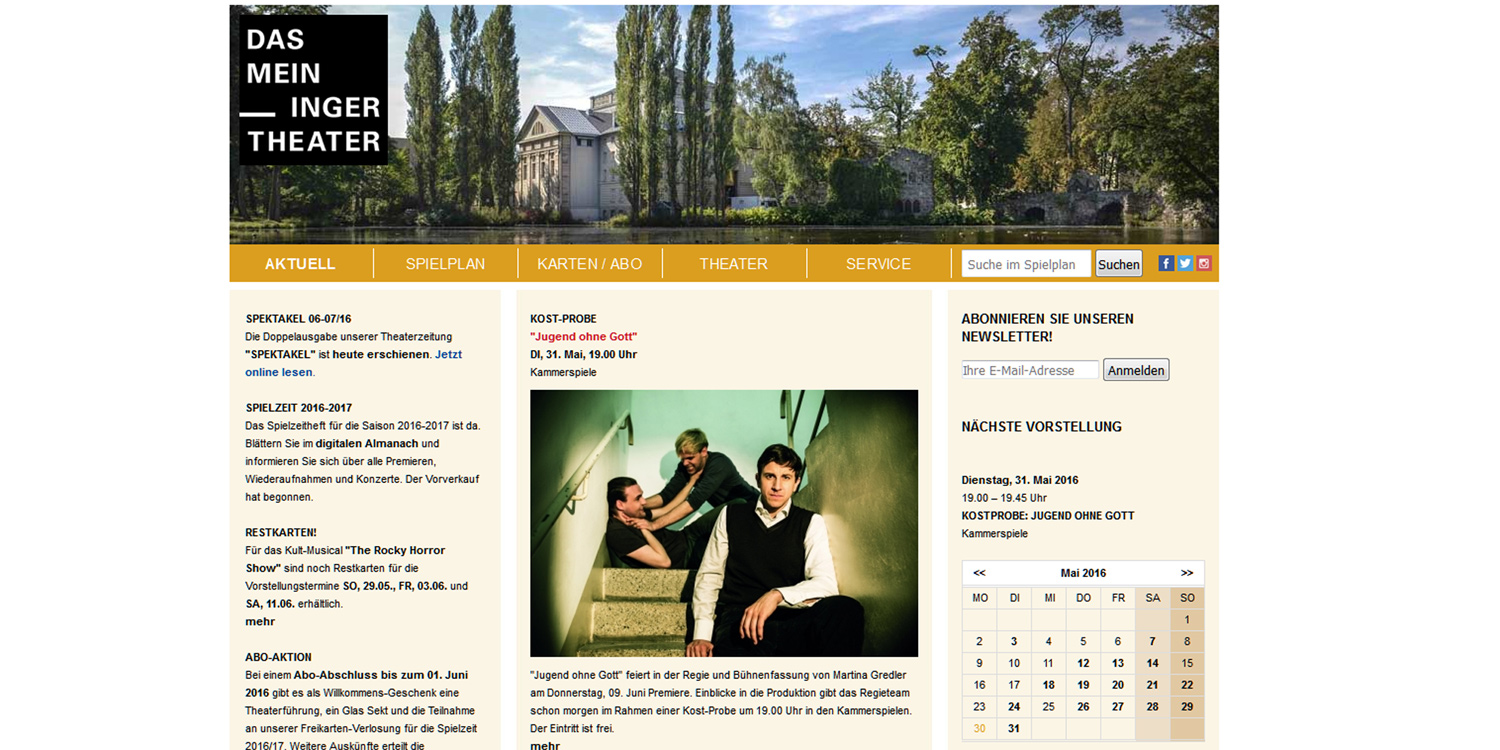 Offizielle Homepage des Meininger Theaters